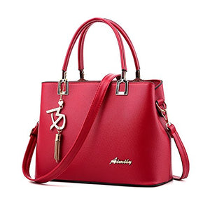 Ladies Artificial Leather Top Handle Handbag Purse with Lovely Hanging Drop