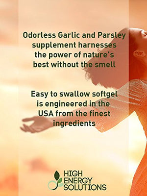 SHIP BY USPS: HIGH ENERGY SOLUTIONS Garlic Supplement With Parsley 250 Odorless Softgels Maximum Strength 1500 /...