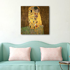 Art - The Kiss by Gustav Klimt Famous Oil Paintings Reproductions Gallery Wrapped Modern Giclee Canvas Prints Artwork Pictures on Canvas Wall Art for Living Room Bedroom Home Decorations
