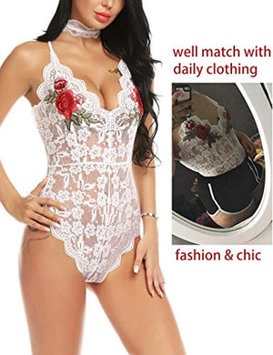 Women Lingerie Bodysuit Embroidered Lace Teddy with Choker One Piece Babydoll