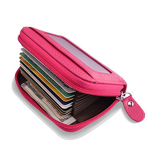 Leather Wallet Zipper Credit Card Wallet RFID Credit Card Holder Protector ID Card Window Credit Card Wallet