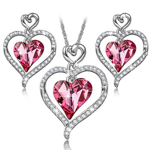 "SHIP BY USPS: LadyColour ""Rose Lover"" Heart Jewelry Set, Necklace And Earrings Set, Made With Swarovski Crystals"