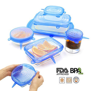 NEWBEA Silicone Stretch Lids,12-Pack of Various Sizes ,Reusable, Durable and Expandable to Fit Various Size and Shape of Containers As Seen On TV,Keeping Food Fresh, Dishwasher and Freeze