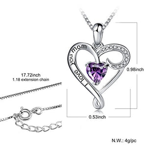 Long Way Mother's Birthday Gift I Love You Mom S925 Sterling Silver Heart Pendant Necklace