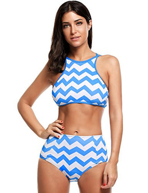 Womens Padding High-waisted Tankinis Halter Bikinis Two Pieces Bathing Suit
