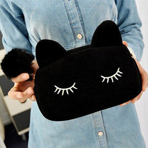 SHIP BY USPS: Sleepy Kitty Cat Cosmetic Bag Pencil Pouch Makeup Brush Case Travel Clutch Handbag Purse Cute Kawaii Fashion (Black)