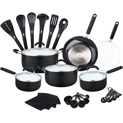 Aluminum Ceramic Nonstick All In One Kitchen Cookware Set Includes Stock Pot Dutch Oven Frying Saute Pan Saucepan Serving Utensils Measuring