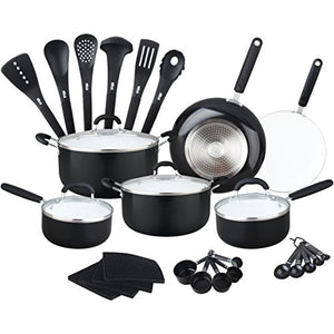 Aluminum Ceramic Nonstick All In One Kitchen Cookware Set Includes Stock Pot, Dutch Oven, Frying/Sauté Pan, Saucepan, Serving Utensils, Measuring Cups/Spoons, Induction Base (30 Ct)Multi color