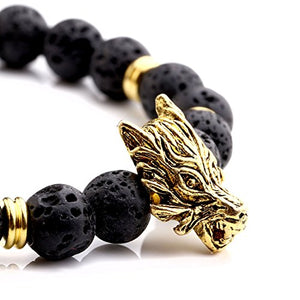 SHIP BY USPS:  Jewelry 6pc Men Women 8mm Mix Style Gold Plated Lion/Wolf/Fox/Sparta Helmet Black Lava Energy Stone Beads Stretch Bracelet