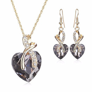 SHIP BY USPS: Women Fashion Heart Shape Gold Plated Jewelry Set Necklace Earring