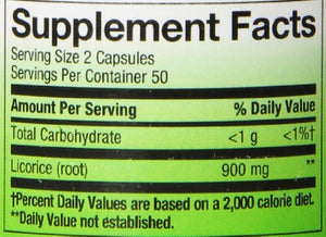 SHIP BY USPS: Nature's Way Licorice Root, 450mg, 100 Capsules