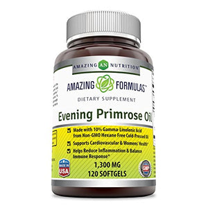 SHIP BY USPS: Amazing Formulas Evening Primrose Oil 1300 Mg 120 Softgels - High Potency- Made with 10% Gamma Linoleic...