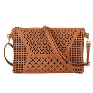 SHIP BY USPS: Jiaruo Vintage Girls Hollow Out Sling Leather Crossbody Bag Handbag Purse