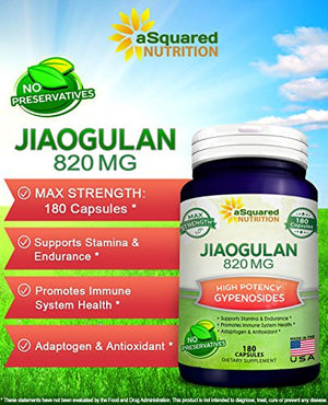 SHIP BY USPS Pure Jiaogulan Supplement - 180 Capsules - Gynostemma Pentaphyllum AMPK Activator, Caffeine-Free...