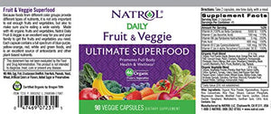 [2 Bottles] Natrol Daily Fruit and Vegetarian Capsules, 90 Count Each
