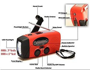 Dynamo Emergency Solar Hand Crank Self Powered AM/FM NOAA Weather Radio LED Flashlight Smart Phone Charger Power Bank with Cables, Red