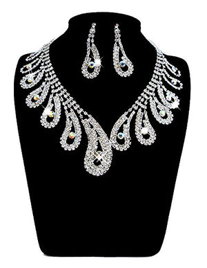 SHIP BY USPS: UDORA Rhinestones Necklace Earrings Jewelry Sets for Bridal Wedding Party