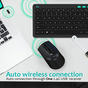 (2018 New Arrival)Rii RKM709 2.4Ghz Ultra-slim Wireless Keyboard and Mouse Combo Multimedia Compact Keyboard and Mouse For PC Laptop,Desktop,Raspberry Pi,KODI HTPC XBMX Macbook Android TV Box,Smart TV