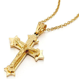 Small Tri-layer Stainless Steel Gold Color Jesus Christ Crucifix Cross Pendant Necklace Men Women