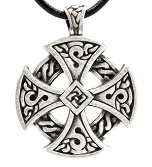 SHIP BY USPS: Pewter Solar Cross Celtic Irish Druid Pendant on Leather Necklace
