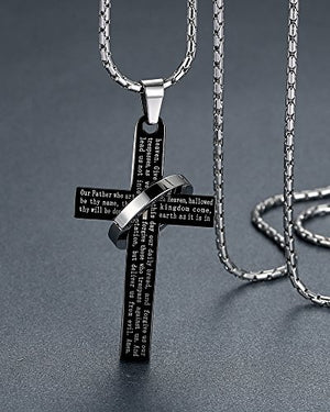 "SHIP BY USPS: Men's Stainless Steel Lord's Prayer Cross Halo Pendant Necklace, Black Color, 23"" Chain, ddp010he"