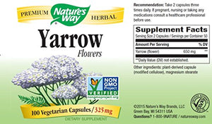 SHIP BY USPS: Nature's Way, Yarrow Flowers Dietary Supplement, 100 Capsules