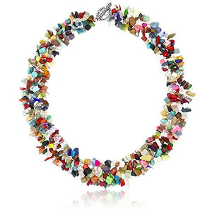 "SHIP BY USPS: 17"" X 1"" Multi Color Stone Chips Necklace and 7"" Stretchy Bracelet Set"