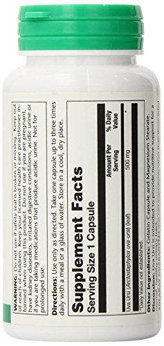 SHIP BY USPS: Solaray Uva Ursi Capsules, 500 mg, 100 Count