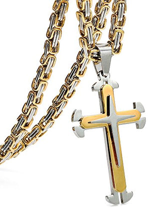SHIP BY USPS:  Stainless Steel Cross Pendant Mens Byzantine Chain Necklace 5mm Wide, 22-30 inches