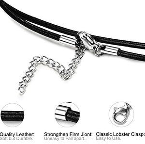 SHIP BY USPS FIBO STEEL Stainless Steel Cross Necklace for Men Women Leather Cord Chain Necklace,16-24 Inches