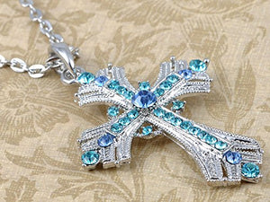 SHIP BY USPS: Alilang Silvery Tone Religious Cross Pendant Necklace w/ Aquamarine Blue Or Clear Crystal Rhinestones