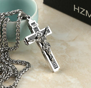 "SHIP BY USPS:  Catholic Jesus Christ on INRI Cross Crucifix stainless steel Pendant Necklace 24"" Chain"