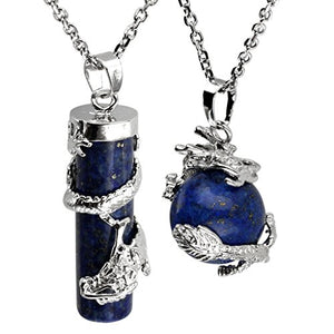 SHIP BY USPS: JOVIVI 2pc Dragon Wrapped Round Ball Cylinder Gemstone Healing Crystal Pendant Necklaces Set