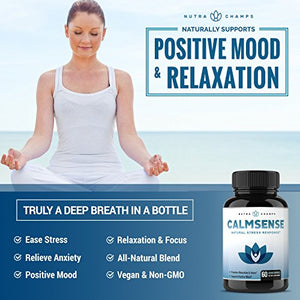 [2 Bottles] CALMSENSE Stress Relief Supplement - Calming Herbal Blend & Vitamin B Complex - Keep Your Mind & Body...