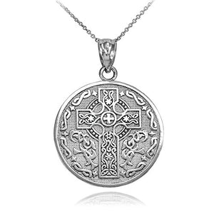 SHIP BY USPS 925 Sterling Silver Reversible Irish Blessing Pendant Necklace