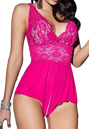 Women's Sexy Sheer Babydoll Lace Teddy Lingerie One-Piece Bodysuit
