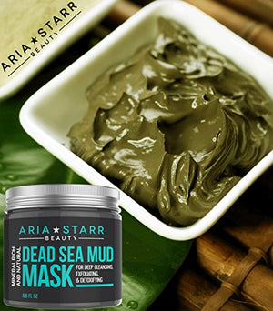 [Pack of 2] Aria Starr Dead Sea Mud Mask For Face, Acne, Oily Skin & Blackheads - Best Facial Pore Minimizer, Reducer...