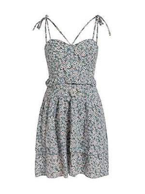 Women's Boho Floral Fit and Flare Ruffle Dress Backless Aline Dress