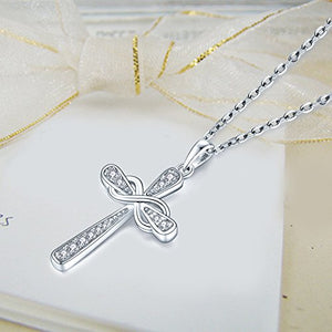 SHIP BY USPS: Cross Necklace-YL Sterling Silver Cross Pendant Necklace for Women-Jesus CZ Cubic Zirconia Crucifix Necklace-Infinity Cross Religious Necklace-White Gold Cross Necklace for Women Girls