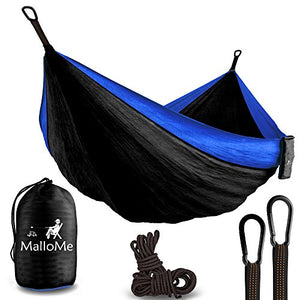 "XL Double Parachute Camping Hammock - Tree Portable with Max 1000 lbs Breaking Capacity - Lightweight Carabiners and Ropes Included For Backpacking, Camping, Hiking, Travel, Beach, Yard, 125"" x 79"""