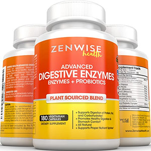 SHIP BY USPS Digestive Enzymes for Constipation & Digestion Health - 180 veg caps - With Probiotics & Prebiotics for Irritable Bowel...