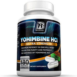 SHIP BY USPS BRI Nutrition Yohimbine HCI - 90 Count 2.5mg Yohimbie Capsules