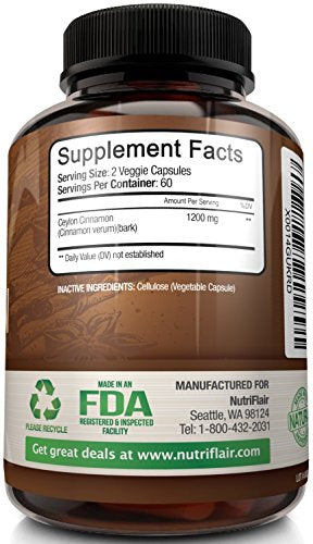SHIP BY USPS NutriFlair Ceylon Cinnamon (made with Organic Ceylon Cinnamon) 1200mg per Serving, 120 Capsules