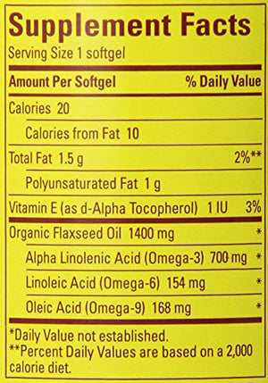 SHIP BY USPS: Nature Made Organic Flaxseed Oil 1400 mg 700mg Omega 3 100 Liquid Softgels