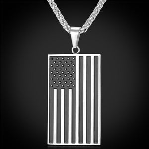 US Flag Subdued Pendant Stainless Steel Chain Red Enamel American Style Necklace