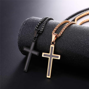Men's Simple Cross Pendant Stainless Steel/18K Gold Plated Necklace With 22 inch Chain