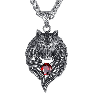 Men's Stainless Steel Tribal Wolf Biker Pendant Necklace, Red, 61cm Link Chain