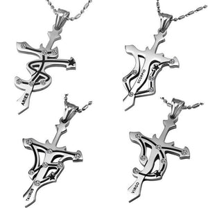 Twelve Zodiac Signs Stainless Steel Pendant Necklaces