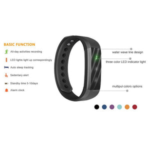 Smart Bluetooth Bracelet Fitness Tracker Step Counter Fitness Watch Band Alarm Clock Vibration Wristband with Heart Rate Monitor