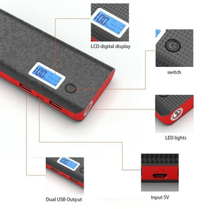 50000mah Mobile Power Bank 2 USB LCD Display LED 18650 External Battery Pack Portable Phone Charger